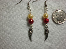 Harry Potter Gryffindor Golden Snitch Inspired Earrings Drop Dangle Pearl