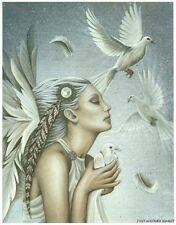 Jessica Galbreth RELEASE Angel Print 5x7 Feather Wings White Doves Wedding Peace