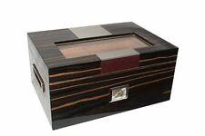Schöner Humidor aus Ebenholz mit Metalleinlage und Glaspanel für 100 Zigarren