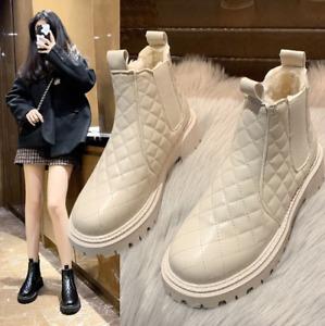 Women's snow boots British style plus velvet padded round toe short Martin boots
