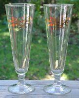 2 Vintage Pilsner 8 oz. Gold Wheat Design Footed Bar Brew Beer Glasses
