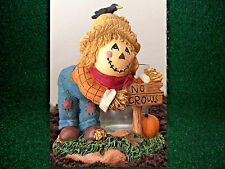 """Yankee Candle Scarecrow with """"No Crows"""" Sign Votive Candle Holder FREE SHIP NEW"""