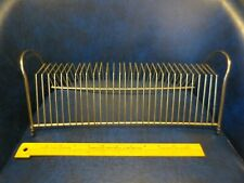 """Vintage Brass Wire 15"""" Record Holder Stand Mid Century Modern Metal Lps 45s MCM"""