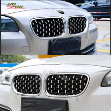 For BMW F10 F11 M5 528i 530i 10-17 Chrome Silver Diamond Front Kidney Grille