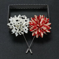 Mens Lapel Pins Flower Polka Dot Handmade Boutonniere Stick Brooch Pin Suit SP