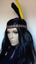 Indian Squaw Black Straight Fancy Dress Wig & 2 Feathers Embroidered HeadBand