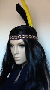 Indian Black Straight Fancy Dress Wig & 2 Feathers Embroidered Head Band