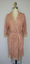 Anthropologie Eloise Boho Chic Kimono Robe 100% Silk Size M/L Rose Pink
