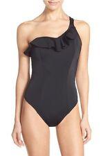 Freya One-Shoulder Underwire One-Piece Swimsuit Black Size 36DD