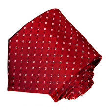 men's bright  red with  white geometric  pattern woven tie