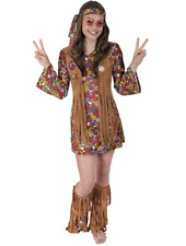 Girls Love n Peace Hippie Costume Brown Size Medium 8 to 10 Halloween Costumes