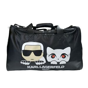 NWT Karl Lagerfeld Paris Black Duffel Bag Gym Luggage Travel Karl & Cat NEW