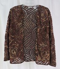 Laura Ashley Small Sheer Brown Lacy Jacket Swirl and Lace Design Dressy