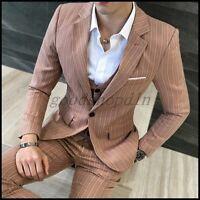 Mens Koran Slim Fit Blazer Suit Stripes One Button 3PCS Dress Vest/Coat/Pants SZ