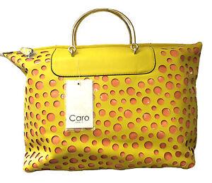 Caro Paris 4027 Polka Dot Bag - Yellow and Peach
