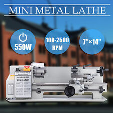 Mini Metal Lathe Bed 550W w/ Heat-Treated Lathe Bed Variable Speed 0-2500 RPM