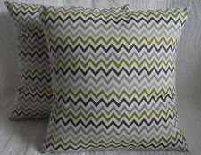 "18"" Cushion Cover Lime Green Grey Cream Retro Zig Zag Print Handmade New 45cm"