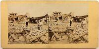 Maisons Distrutto Cina Asia A Identificare Foto Stereo Vintage Albumina c1865