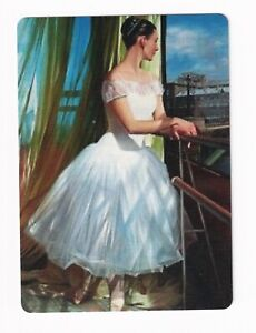 Ballerina Lady at a Balcony no 2  - Modern Wide Linen Swap Playing Card