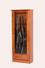 """10-Gun Locking Wood Display Cabinet, Tempered Glass Door, 52"""" Rifles & Shotguns"""