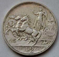 Italy 2 Lire, 1915, Quadriga, Vittorio Emanuele III, Silver coin