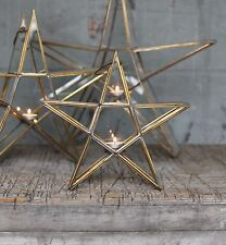 Antique Brass & Glass Standing Star Tea Light Holder Lantern, Small Sanwi Nkuku