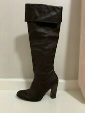 CHOCOLATE BROWN FOLDOVER HIGH HEELED KNEE LENGTH BOOTS - UK SIZE 5