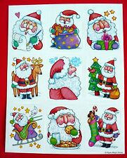 VINTAGE PAPER MAGIC CHRISTMAS 9 STICKERS 1 SHEET SANTA'S