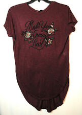 BURGUNDY LADIES TUNIC TOP BLOUSE SIZE 10 PAPAYA STRETCH EMBROIDERED FLOWERS