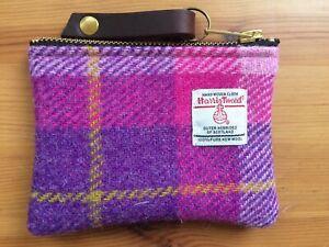 pink Harris tweed coin purse, tartan purse, plaid purse, gift for her