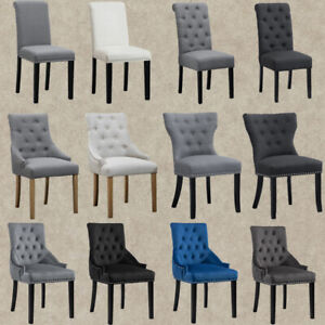 1/2/4/6 Dining Chairs Armchair High Back Linen/Velvet Upholstered Wood Legs Home