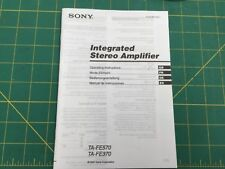 Sony TA-FE570 Amplifier / Receiver Owners Instruction Manual
