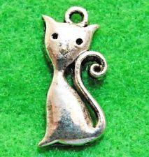 50Pcs. WHOLESALE Tibetan Silver Sitting CAT Charms Pendants Earring Drops Q1284