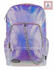 Holographic Pink Purple Metallic Stud Chain Rucksack Backpack Gift Ideas