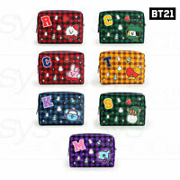 BTS BT21 Official Authentic Goods PU Check Square Pouch L Size +Traking Number