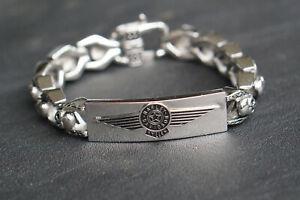 Herren Edelstahl Harley Davidson Biker Armband B/&S Schmuck 22cm Silbern NEU