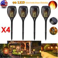 1/4 Pack 96LED Solar Light Path Torch Flame Flickering Lighting Lamp Garden Yard