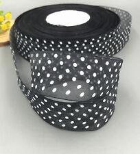 10Yards 25mm black dot Satin Edge Sheer Organza Ribbon Bow Wedding decoration