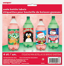 4 x Christmas bottle labels 2 litre bottle fun pop kids drinks labels