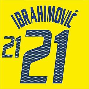 Ibrahimovic 21. Sweden Home football shirt 2002 - 2004 FLEX NAMESET NAME SET