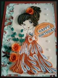 Handmade Paper Quilled Personalized Birthday Card Daughter Granddaughter Sister