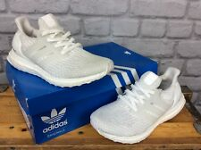 ADIDAS UK 4 ULTRA BOOST 3.0 PRIMEKNIT WHITE MONO TRAINERS RRP £140 MENS LADIES