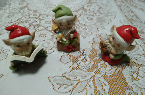VINTAGE SET OF 3 CERAMIC CHRISTMAS PIXIE GNOME ELVES HOME INTERIOR TOYS BOOK