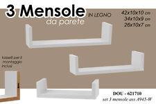 SET 3 MENSOLE DA PARETE IN LEGNO BIANCO CON KIT MONTAGGIO 42/34/26 CM DOU-621710