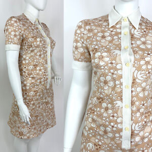 VINTAGE 60s 70s BEIGE WHITE BROWN FLORAL MOD DAGGER SHIRT SHORT DRESS 16 18