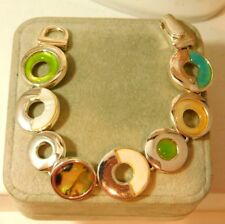 "MOP Abalone Blue Green Silver tone 7.5"" Bracelet Magnet 6k 16"