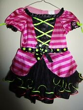 Toddler  kids Pink/Green Black Ruffled Dress Costume Halloween 2T-3T TARGET