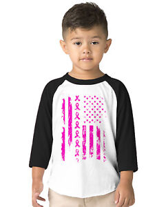 Pink Ribbon Flag Breast Cancer Awareness Month October Toddler Raglan T-Shirt