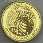 2013 $25 Arctic Fox .9999 Pure Gold 1/4 oz Proof Untamed Canada 1 of only 728