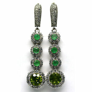 NATURAL 7 mm. GREEN EMERALD, EMERALD & CZ EARRINGS 925 STERLING SILVER